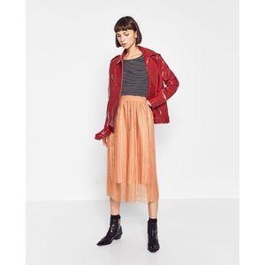 NWT Zara Fine Pleated Tulle Midi Skirt